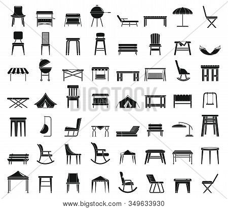 Home Garden Furniture Icons Set. Simple Set Of Home Garden Furniture Vector Icons For Web Design On