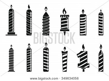 Anniversary Birthday Candle Icons Set. Simple Set Of Anniversary Birthday Candle Vector Icons For We