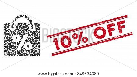 Mosaic Shopping Discount Icon And Distressed Stamp Watermark With Red 10 Percent Off Phrase Between