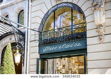 Paris/france - September 10, 2019 : The Guerlain Luxury Perfume Store On Champs-elysees Avenue