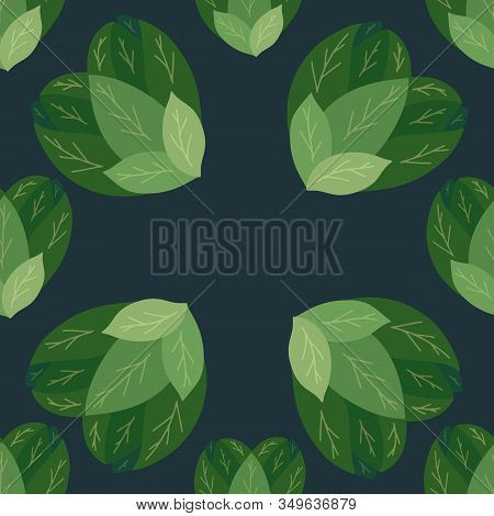 Seamless Flat Pattern With Bush Hearts From Leaves On Dark Background. Love Of Nature. Bush Of Salad