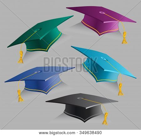 Vector Collection 3d Education Caps. Set Of Realistic Graduation Student Hats. Graduate Ceremony. Is