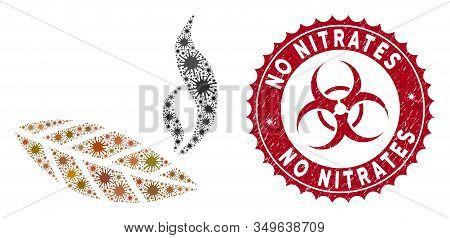 Coronavirus Mosaic Smoking Tobacco Leaf Icon And Rounded Grunge Stamp Watermark With No Nitrates Cap