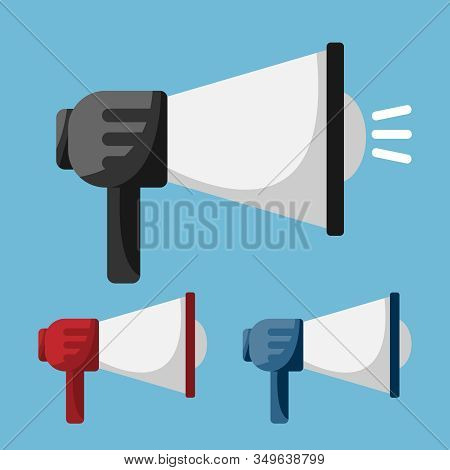 Set Of Megaphone In Flat Style Design For Concept Digital Marketing. Vector Illustration.