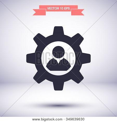 Man And Cog Vector Icon , Lorem Ipsum Flat Design