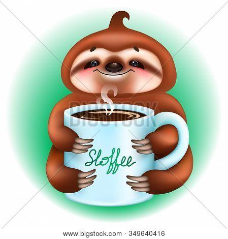 Cute Cartoon Sloth Bear With Coffee Mug On Mint Color Background. Vector Illustration