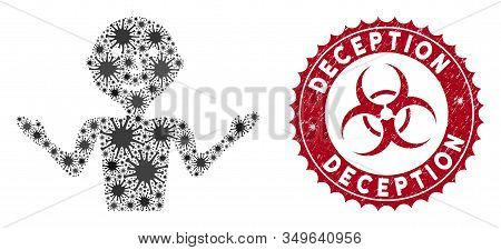 Coronavirus Mosaic Young Guru Icon And Rounded Distressed Stamp Watermark With Deception Text. Mosai