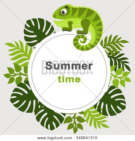 Summer Tropical Background With Palm Leaves And Cartoon Iguana. Round Frame. Place For Text. Theme O