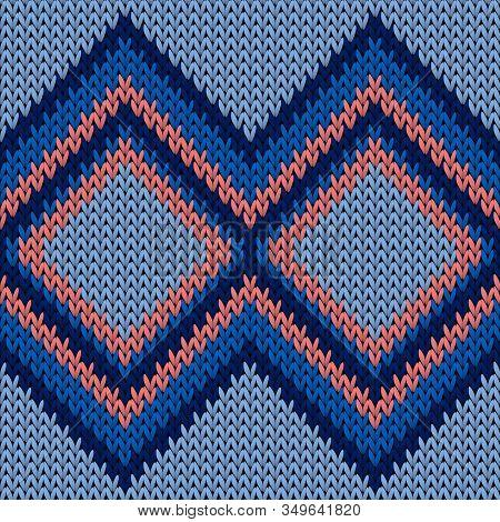 Bright Rhombus Argyle Knit Texture Geometric Seamless Pattern. Jacquard Knitting Pattern Imitation.