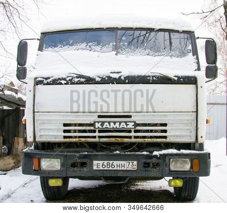 Russia, Saransk January 21, 2020. Russian Truck Kamaz 2001 Release With A White Cab Swept Snow. Old