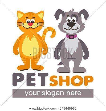 Vector Logo For Pet Shops, Animal Shelters And Veterinary Clinics. Cartoon Icon With Orange Cat And
