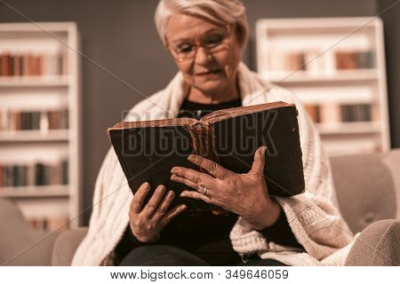 Wise Woman Dived Deep Into The Study Of Holy Bible. Elderly Gray-haired Lady In Glasses Threw White