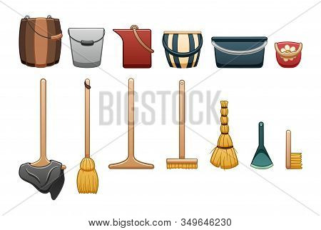 Set Of Cleaning Tools: Buckets, Mops, Besom, Broom, Dustpan, Brush On White Backgound