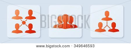 Set Users Group, Project Team Base And Project Team Base. White Square Button. Vector