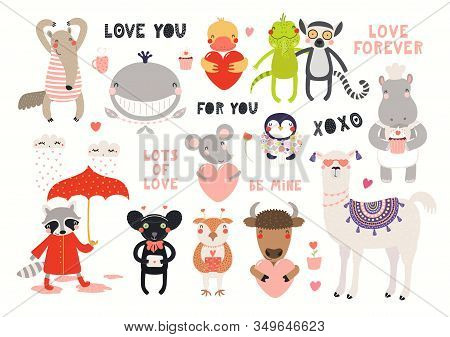 Big Valentines Day Set With Cute Animals, Hearts, Quotes. Isolated Objects On White Background. Hand
