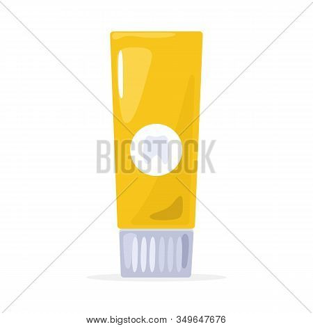 Yellow Tube Closed By Cap. Template, Mockup Packing For Toothpaste, Shaving Cream, Body Or Face Loti