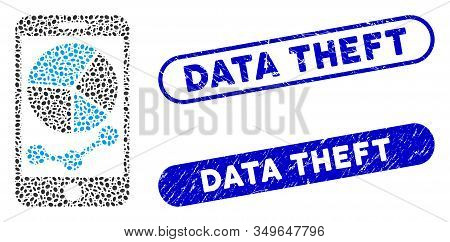 Mosaic Mobile Graphs And Grunge Stamp Seals With Data Theft Phrase. Mosaic Vector Mobile Graphs Is F