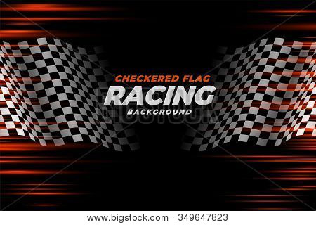 Checkered Racing Flag Speed Background Design Vector Illustration