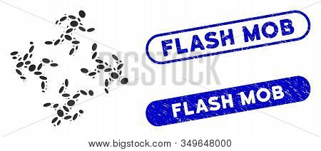 Mosaic Running Men And Corroded Stamp Seals With Flash Mob Caption. Mosaic Vector Running Men Is Com