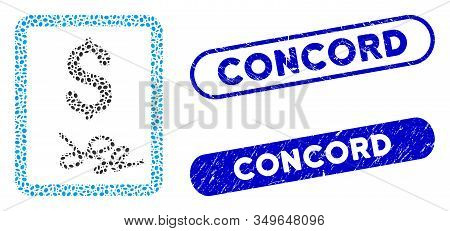 Collage Invoice Page And Grunge Stamp Seals With Concord Caption. Mosaic Vector Invoice Page Is Desi