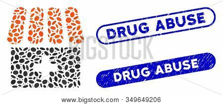 Mosaic Drugstore And Distressed Stamp Seals With Drug Abuse Caption. Mosaic Vector Drugstore Is Desi