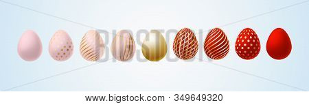 Easter Egg Bright Modern Painted Luxury Egg For Easter Set Of Pink Red Gold Elegant Colored Egg With