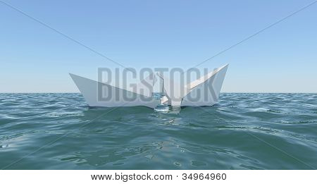 Paper Boat sinks in water