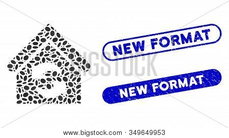 Mosaic Update Building And Grunge Stamp Seals With New Format Phrase. Mosaic Vector Update Building