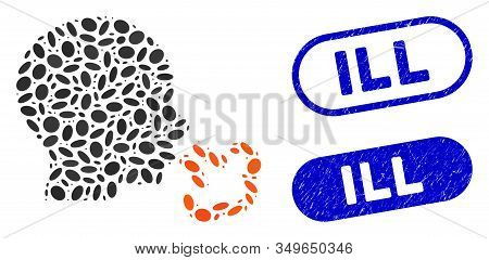 Mosaic Sneezing And Grunge Stamp Seals With Ill Text. Mosaic Vector Sneezing Is Created With Randomi