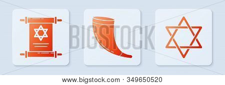 Set Traditional Ram Horn, Shofar, Torah Scroll And Star Of David. White Square Button. Vector