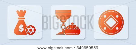Set Jewish Goblet And Hanukkah Sufganiyot, Jewish Money Bag With Star Of David And Coin And Jewish C