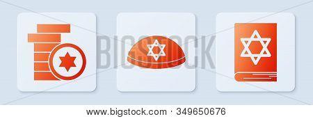 Set Jewish Kippah With Star Of David, Jewish Coin And Jewish Torah Book. White Square Button. Vector