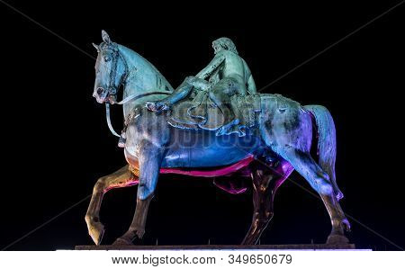 Night Photo Of Statue Of Lady Godiva In Coventry City Centre, Midlands, England