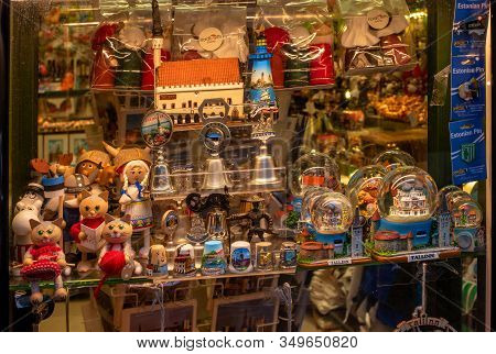 Tallinn, Estonia - January 3, 2020: Gift Shop, Showcase With Souvenirs, Christmas Souvenirs, Estonia
