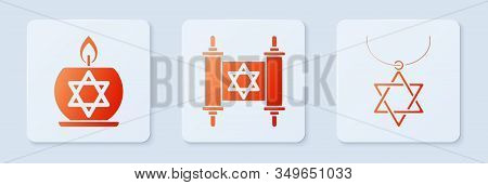 Set Torah Scroll, Burning Candle In Candlestick With Star Of David And Star Of David Necklace On Cha