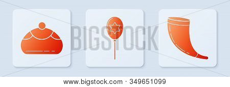 Set Balloons With Ribbon With Star Of David, Jewish Sweet Bakery And Traditional Ram Horn, Shofar. W