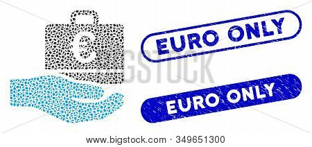 Mosaic Euro Accounting Hand And Rubber Stamp Seals With Euro Only Phrase. Mosaic Vector Euro Account