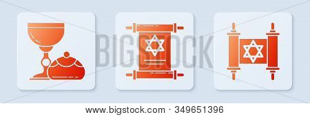 Set Torah Scroll, Jewish Goblet And Hanukkah Sufganiyot And Torah Scroll. White Square Button. Vecto