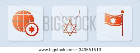 Set Star Of David Necklace On Chain, World Globe And Israel And Flag Of Israel. White Square Button.