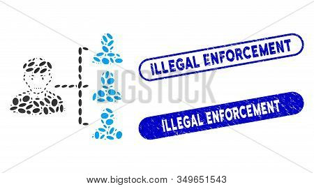 Mosaic Officer Subordinates And Distressed Stamp Watermarks With Illegal Enforcement Phrase. Mosaic