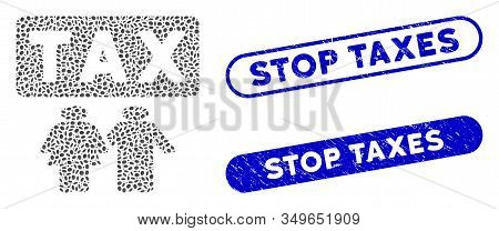 Mosaic Family Tax Pressure And Rubber Stamp Seals With Stop Taxes Caption. Mosaic Vector Family Tax