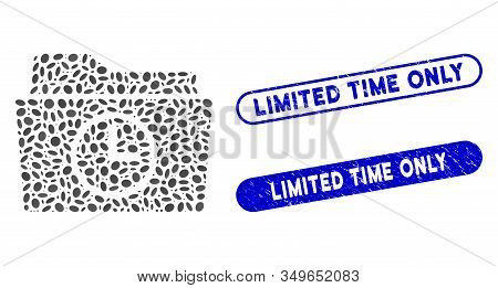 Mosaic Temporary Folder And Grunge Stamp Seals With Limited Time Only Caption. Mosaic Vector Tempora