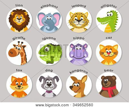 A Set Of Animal Portraits In A Round Frame. Lion, Elephant, Leopard, Aligator, Giraffe, Iguana, Hipp