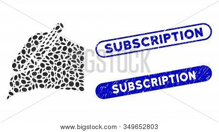 Mosaic Subscribe Hand And Distressed Stamp Seals With Subscription Phrase. Mosaic Vector Subscribe H