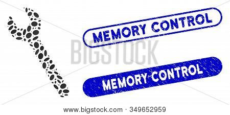 Collage Wrench And Rubber Stamp Seals With Memory Control Text. Mosaic Vector Wrench Is Designed Wit