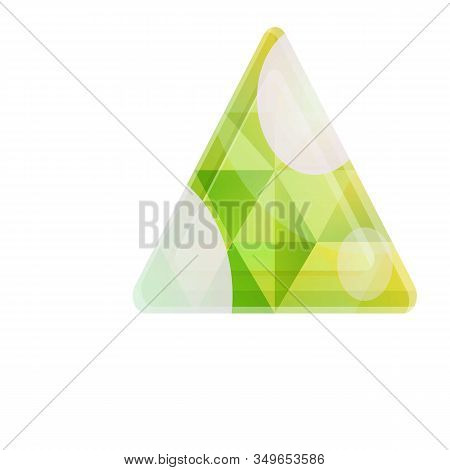 Triangular Gem Icon. Cartoon Of Triangular Gem Vector Icon For Web Design Isolated On White Backgrou