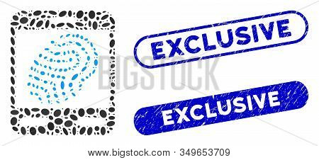 Mosaic Fingerprint Scanner And Grunge Stamp Seals With Exclusive Text. Mosaic Vector Fingerprint Sca