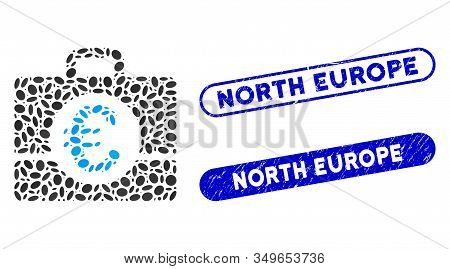 Collage Euro Accounting And Corroded Stamp Seals With North Europe Phrase. Mosaic Vector Euro Accoun