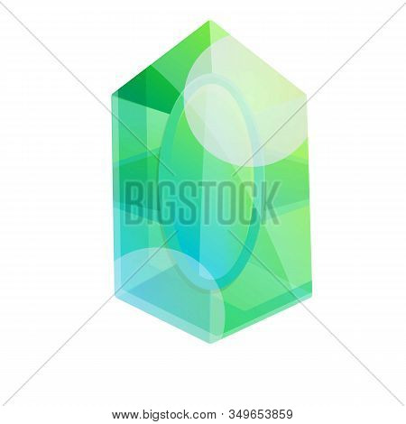 Green Emerald Icon. Cartoon Of Green Emerald Vector Icon For Web Design Isolated On White Background