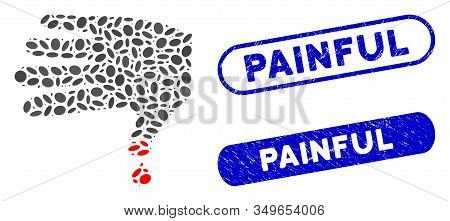 Mosaic Hand Wound And Grunge Stamp Seals With Painful Caption. Mosaic Vector Hand Wound Is Created W